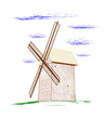 Rural windmill - vector illustration.