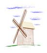 Rural windmill - vector illustration.