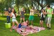 Obrazy na płótnie, fototapety, zdjęcia, fotoobrazy drukowane : Teenage friends dancing to guitar music.