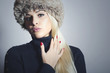 Beautiful Fashionable Blond Woman in Fur.Beauty Girl.Winter
