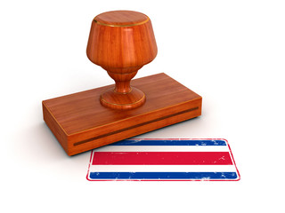 Rubber Stamp Costa rica flag (clipping path included)