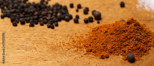 Heap of various spices on the table
