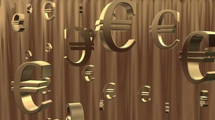 Golden rain of Euro symbols.