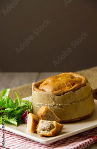 Melton Mowbray pork pies vertical
