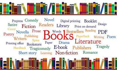 Books word cloud and books on shelf