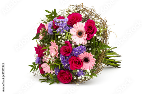 bouquet of colourful flowers isolated on white