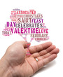 Valentine concept Asian male holding a tree shape tag cloud