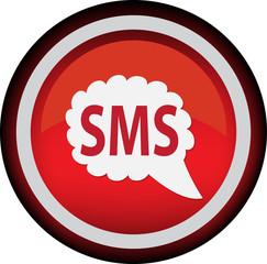 Векторный круглый значок с изображением sms