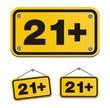 21+ yellow signs