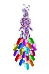 Set of Whistles Hanging on A Stripe Ribbon