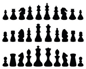 Black silhouette of chess pieces, vector
