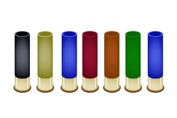 Set of Shotgun Shells on White Background