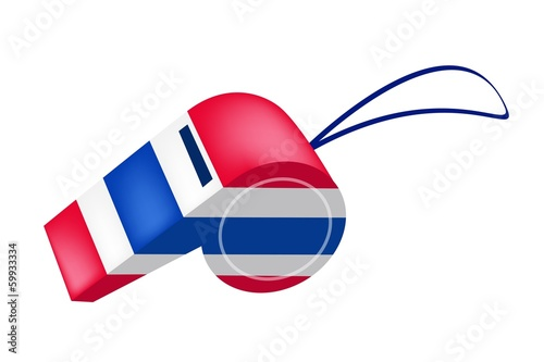 Red, White and Blue Stripe on Thai Whistle