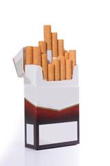 weiß braune offene Filter Zigarettenschachtel