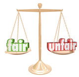 Fair Vs Unfair Words Scale Balance Justice Injustice