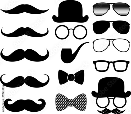black moustaches silhouettes - 59934336