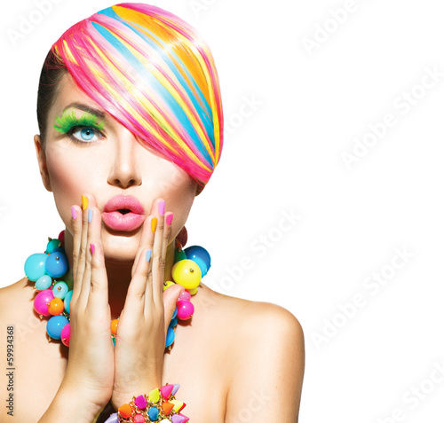 Beauty Woman with Colorful Makeup, Hair, Nails and Accessories