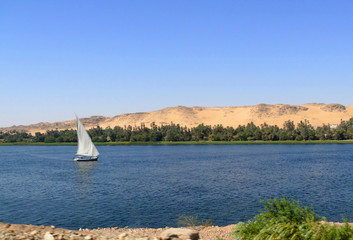 Sailboat floating on the Nile in Aswan.