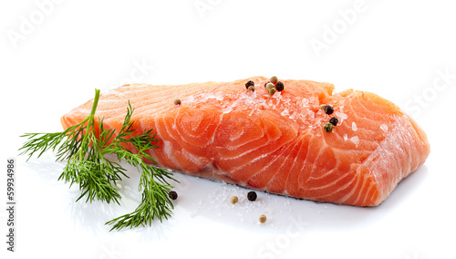 Deurstickers Vis fresh raw salmon