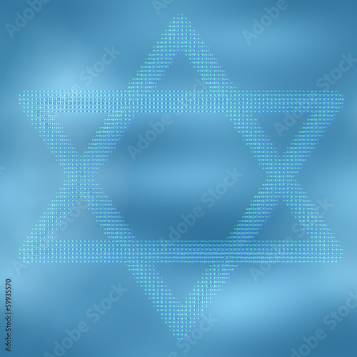 Star of David. Ice background.