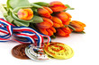 Dutch medals and orange tulips
