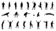 Set of Silhouettes of People Involved in Sports. Vector Illustra