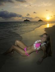 beautiful girl in bikini at the beach