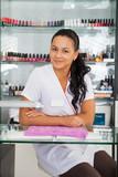Spa salon. Portrait of manicurist. poster