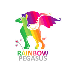 Symbol pegasus rainbow colors with a sprig.