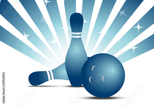 Blue bowling skittles isolated on white with stripes