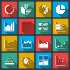 Business icons of ratings graphs and charts