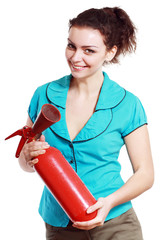 woman hold extinguisher