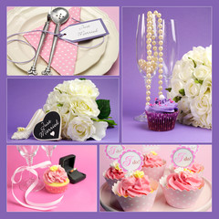 Wedding pink and purple theme collage of five images