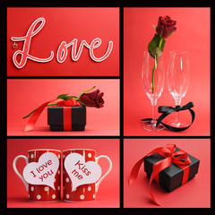 Valentines Day or love theme collage of five images