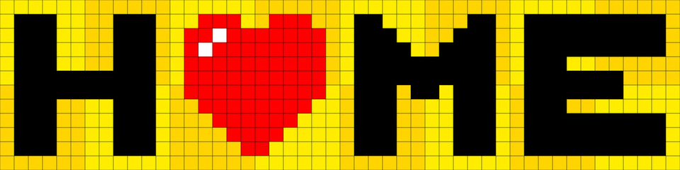 8-bit Pixel Lettering of Home with Love Heart