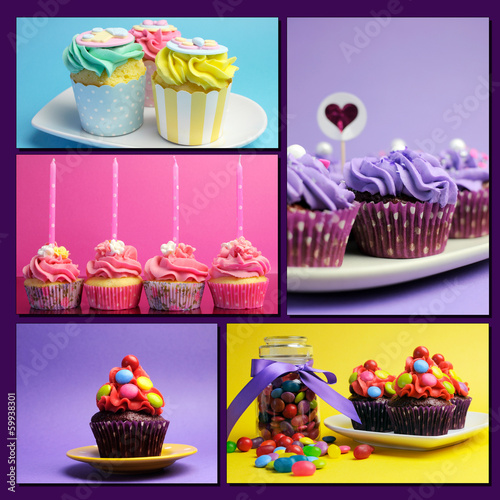 Colorful collage of bright color cupcakes