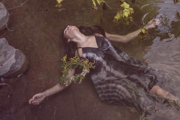 Young beautiful drown woman