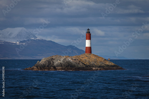 Lighthouse End of the world in the Beagle Channel, Ushuaia, Pata