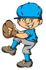 Vector cartoon of a boy about to throw a baseball pitch.