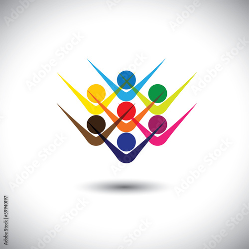 Colorful abstract concept vector happy excited people or childre