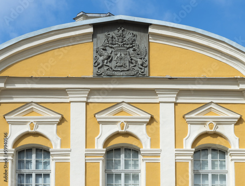 Fragment of Rundale palace with Russian emblem, Latvia