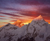 Golden pyramid of Mount Everest (8848 m) at sunset.