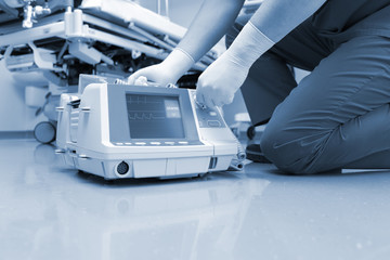 Doctor and cardio resuscitation equipment