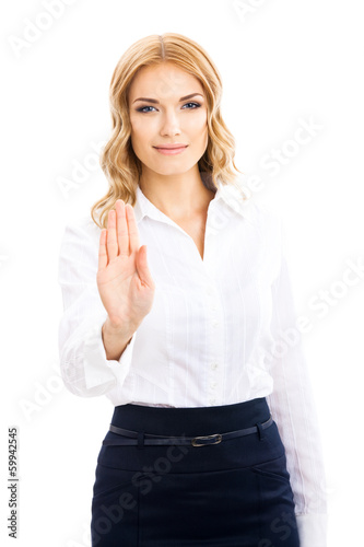 Businesswoman with stop gesture, on white