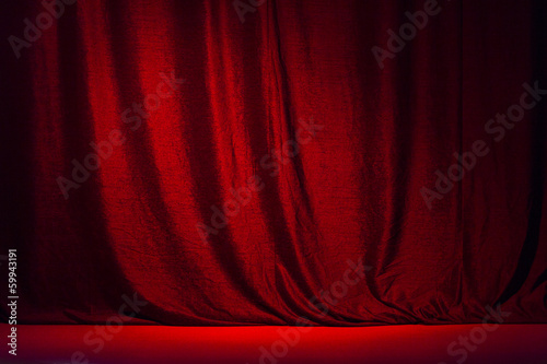 Red curtain and the scene .