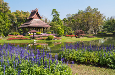 Thai style outdoor wooden gazebo  in the park
