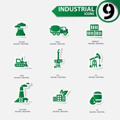 Industrial icons,Green version,vector