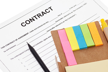 Contract with sticky note