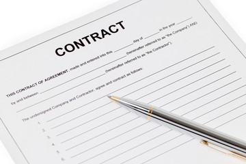 Contract with pen