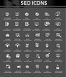 SEO icons,Black background vector